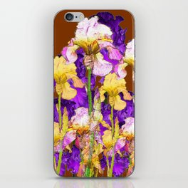 IRIS GARDEN ON CHOCOLATE BROWN iPhone Skin