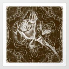 Rose infrared in brown Art Print