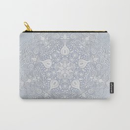 Baroque Garden, White on Blue, Watercolor Ornate Pattern Carry-All Pouch