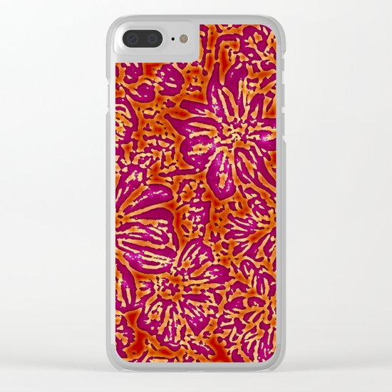 Marigold Lino Cut, Batik Red And Purple Clear iPhone Case