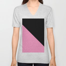 Just two colors 1: pink and black Unisex V-Neck