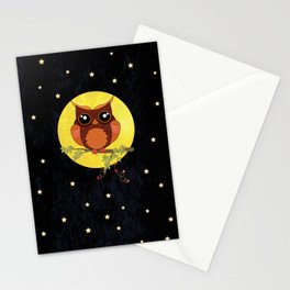 Autumn Owl Sitting On A Tree. Stationery Cards