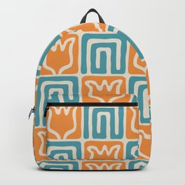 Mid Century Flower Garden Pattern 381 Turquoise and Orange Backpack