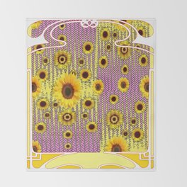YELLOW ART NOUVEAU SUNFLOWERS ABSTRACT DESIGN Throw Blanket