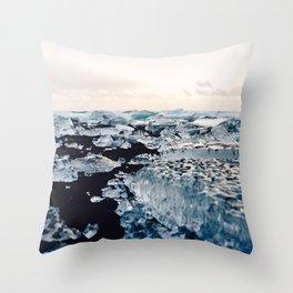 Ice Field on Diamond Beach, Iceland Throw Pillow