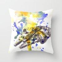 millenium falcon Throw Pillows featuring Star Wars Millenium Falcon  by idillard