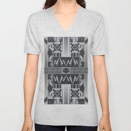 Retro Art Deco Geometry Black White Unisex V-Neck
