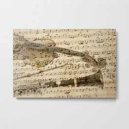 Violin and clarinet musical note background Metal Print