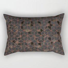 Copper Gold and Black Hexagons Geometric Pattern Rectangular Pillow