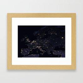 Europe at Night Framed Art Print