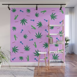Weed Leaf, Bongs, Pipes, Joint, Blunts Pattern Wall Mural