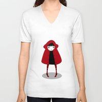 red riding hood V-neck T-shirts featuring Little Red Riding Hood by Volkan Dalyan