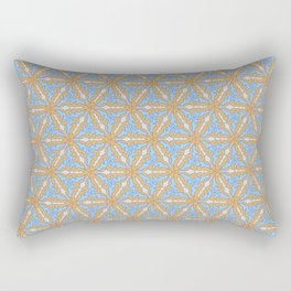 Patterns: Blue Orange Flowers Rectangular Pillow