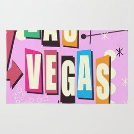 Vintage Las Vegas Vacation print pink version Rug
