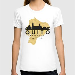 QUITO ECUADOR SILHOUETTE SKYLINE MAP ART T-shirt