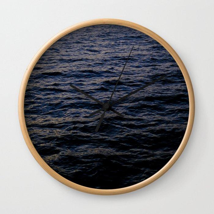 Dark blue ocean waves Wall Clock