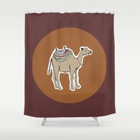 camel Shower Curtains featuring camel by johanna strahl