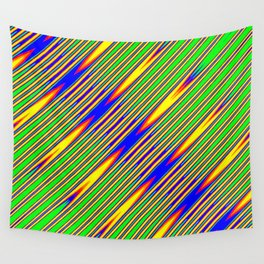 Diagonal Green Gold Op-Art Stripes Wall Tapestry