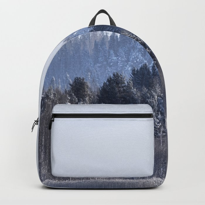 Blue shades in cold winter morning Backpack
