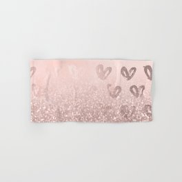 Rose Gold Sparkles on Pretty Blush Pink with Hearts Hand & Bath Towel