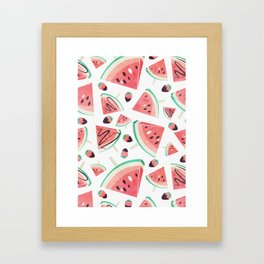 Watermelon popsicles, strawberries and chocolate Framed Art Print