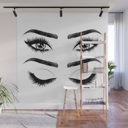 Eyes with long eyelashes and brows Wall Mural