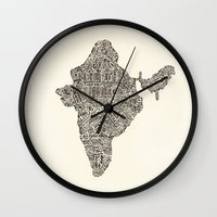 india Wall Clocks featuring India by Mariana Beldi