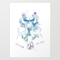 virgo Art Prints featuring Virgo by Nathalie Vessillier