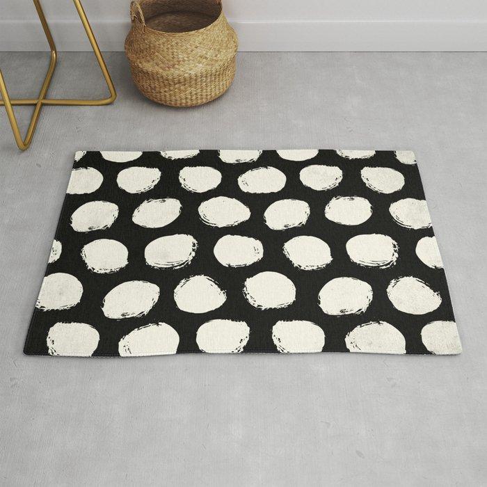 Trendy Cream Polka Dots on Black Rug