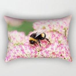 pink flowers and bee Rectangular Pillow