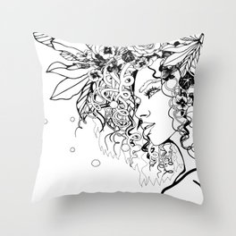 With Flowers in Her Hair No. 5 Throw Pillow