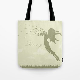 girl with butterflies in a jump Tote Bag