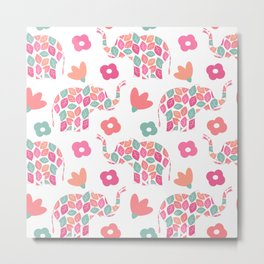 cute colorful abstract pattern background with leaves elephants and flowers Metal Print