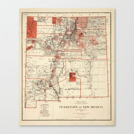 Vintage Map of New Mexico (1882) Canvas Print