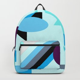geometrical shapes in blue purple grey and black Backpack