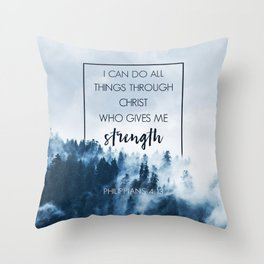 Forest Philippians 4:13 Throw Pillow