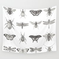 insects Wall Tapestries featuring Insects by Elizabeth Clowes Illustration
