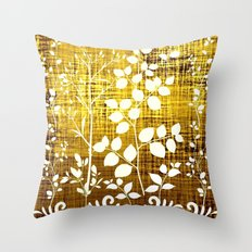 White leaves decor on golden background Throw Pillow