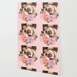 Baby Sloth with Flowers Crown in Pink Wallpaper