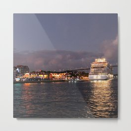 Willemstad Curacao - Queen Juliana Bridge at Night with Cruise Ship Metal Print