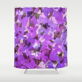 Red Violet Field Flowers Shower Curtain