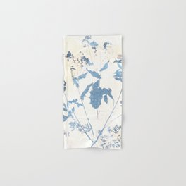 Farmhouse botanical blue and beige floral handmade print 6 Hand & Bath Towel
