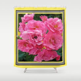 CLUSTERED PINK ROSES YELLOW-GREY ART Shower Curtain