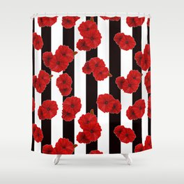 black white red shower curtain. Red poppies on a black and white striped background  Shower Curtain Black White Curtains Society6