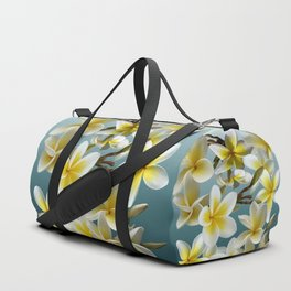Plumeria on Blue Duffle Bag