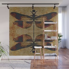 Dragonfly 2.0 Mirrored on Leather Wall Mural