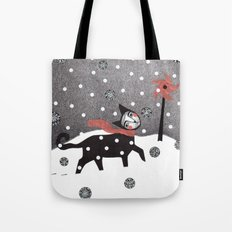 Snow Cat Tote Bag