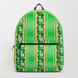 Green Hibiscus Honu Stripes Backpack