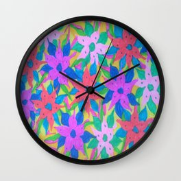 Tropical Rain Flowers Wall Clock