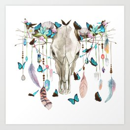 Butterfly Cow Skull Spirit Gazer Art Print